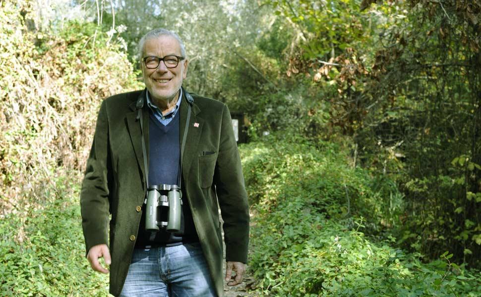 Danilo Mainardi, Presidente onorario della Lipu, all'Oasi di Torrile (foto: Archivio Lipu)